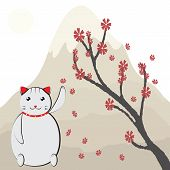 A white Japanese lucky cat (maneki neko) on the background of sakura blossoms and mountains commonly seen in many Asian businesses. poster