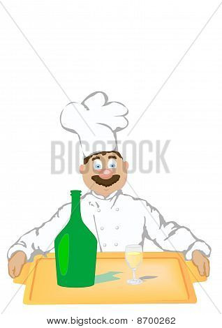 The Vector Illustration The Cheerful Cook Holds A Tray With A Bottle And A Champagne Glass