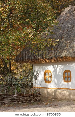 Autumnal Scenery. Ukrainian Hut.