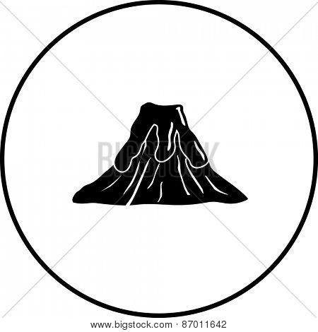 volcano with lava symbol poster