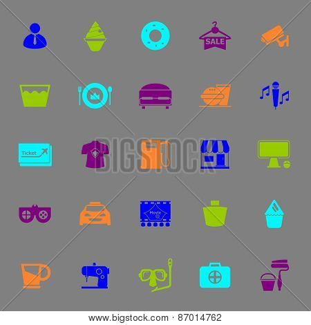 Franchisee Business Color Icons On Gray Background