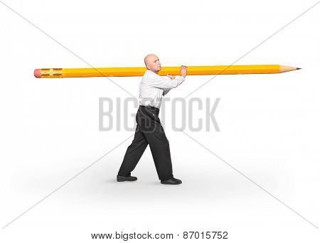 The writer carries big yellow pencil on white background.