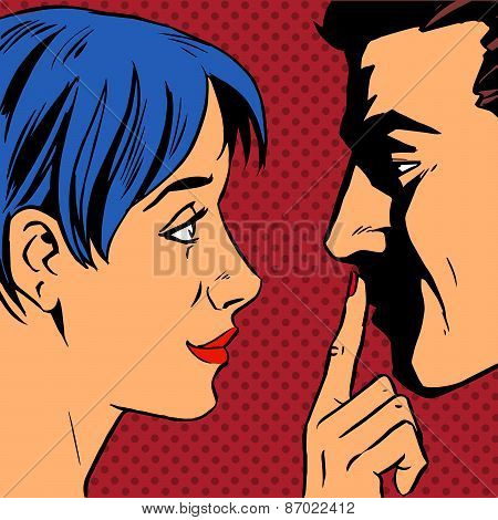 Stop woman invites man to stay put a finger to his lips