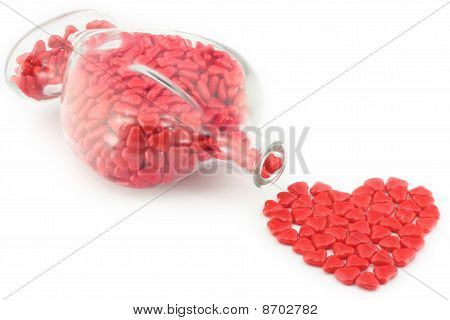 Valentine's Gift Candy Hearts Isolated On White