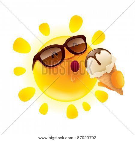 Summer sun holding an ice cream