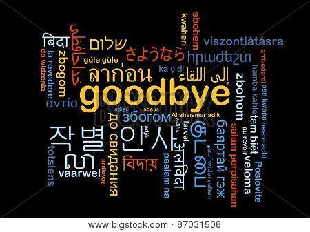 Background concept wordcloud multilanguage international many language illustration of goodbye