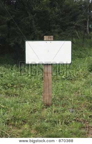 Blank Sign In Grass