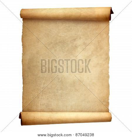 Old vintage scroll isolated on white background poster