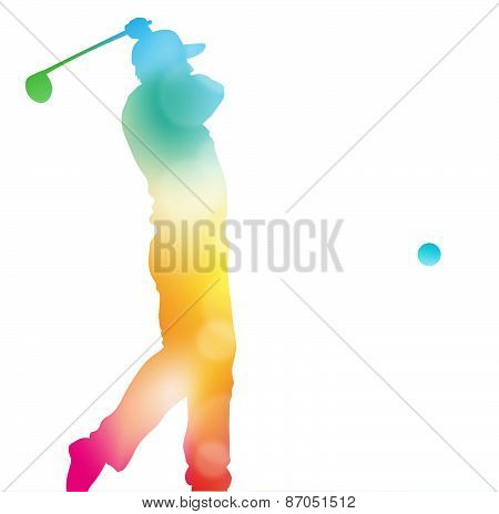 Abstract Golf Player Driving In Beautiful Summer Haze.
