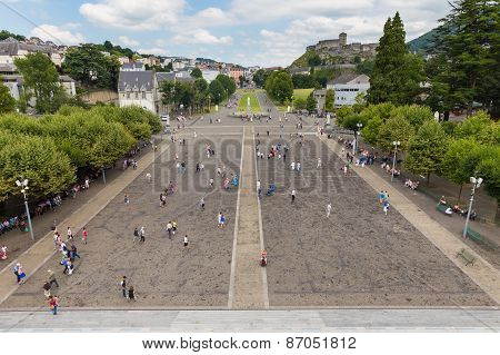 Overal View Of The Rosary Square At The Basilica In Lourdes