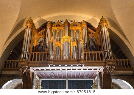 Interior View Of The Massive Organ Inside The Rosary Basilica