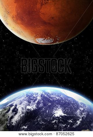 Earth and mars in space. Elements of this image furnished by NASA