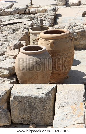 Giant Clay Jars From The Palace Of Knossos