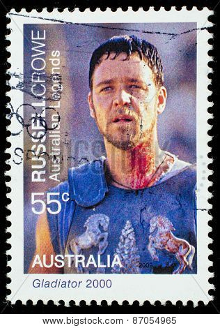 AUSTRALIA - CIRCA 2009: A postage stamp printed in Australia showing an image of actor Russell Crowe, circa 2009.