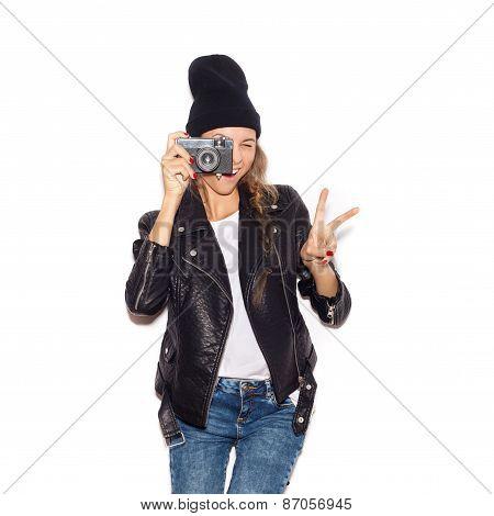 Pretty Girl Making Photo Using Professional Camera.