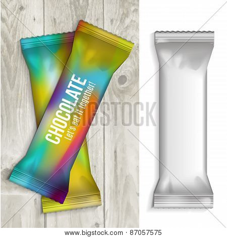 Vector visual of white or clear plain flow wrap plastic foil packet, packaging or wrapper for biscuit, wafer, crackers, sweets, chocolate bar, candy bar, snacks etc poster