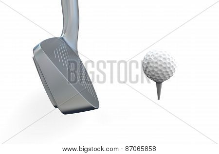 White Golf Ball With Golf Club