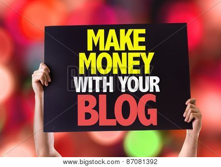 Make Money With Your Blog card with bokeh background