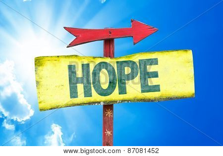 Hope sign with sky background
