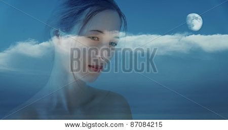 Double Exposure Portrait Of Beautiful Girl With Night Sky