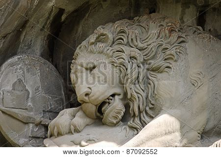 Statue of a dying lion in Lucerne poster
