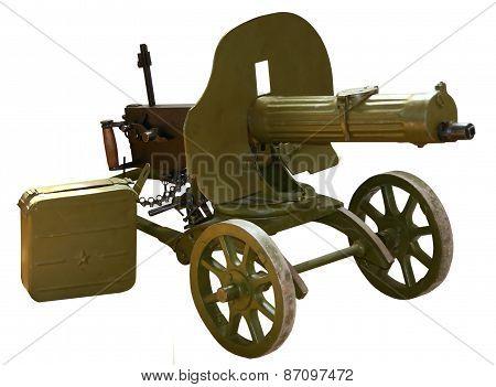 vintage self-powered machine gun