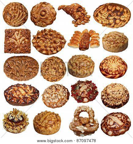 Isolated Ukriinian handmade festive Breads