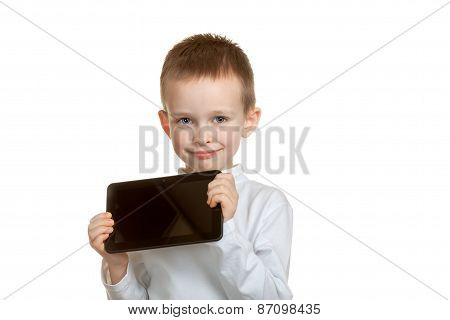 boy with tablet isolated