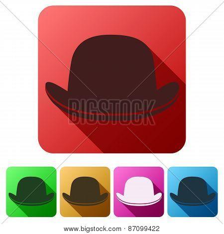 Set Flat icons of black gentleman bowler hat. poster