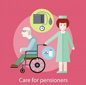 Nurse taking care of senior patient in wheelchair. Concept of care for pensioners in flat design style. Can be used for web banners, marketing and promotional materials, presentation templates poster