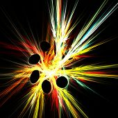 fractal abstract of discs and colorful rays poster