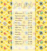 Modern flat vector template of menu for cafe, cafeteria, bakery, coffee shop, fast food restaurant, bar with space for text and icons of tea coffee and sweets. poster