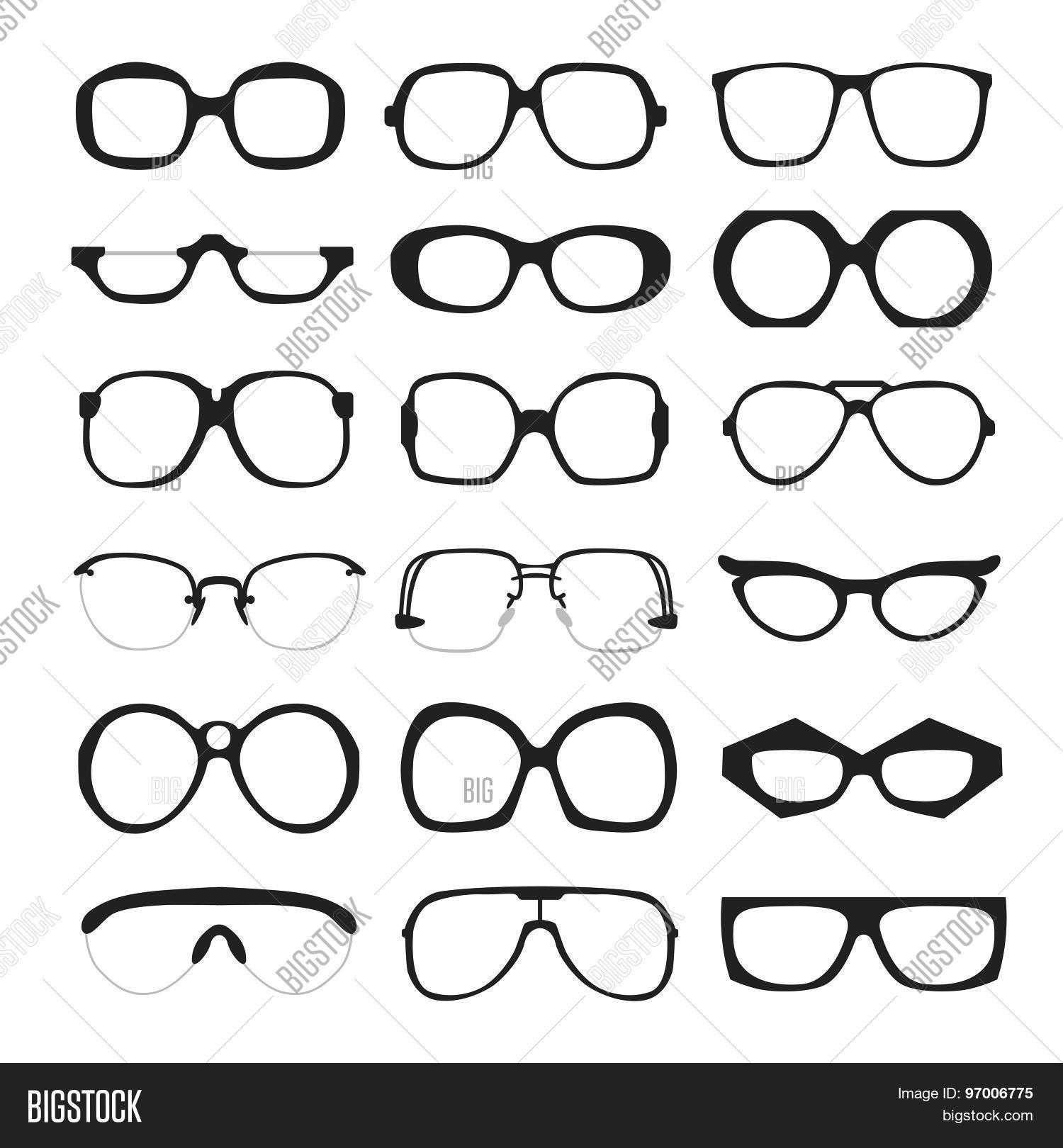 ebe97cfde1 Vector set of different glasses on white background. Retro