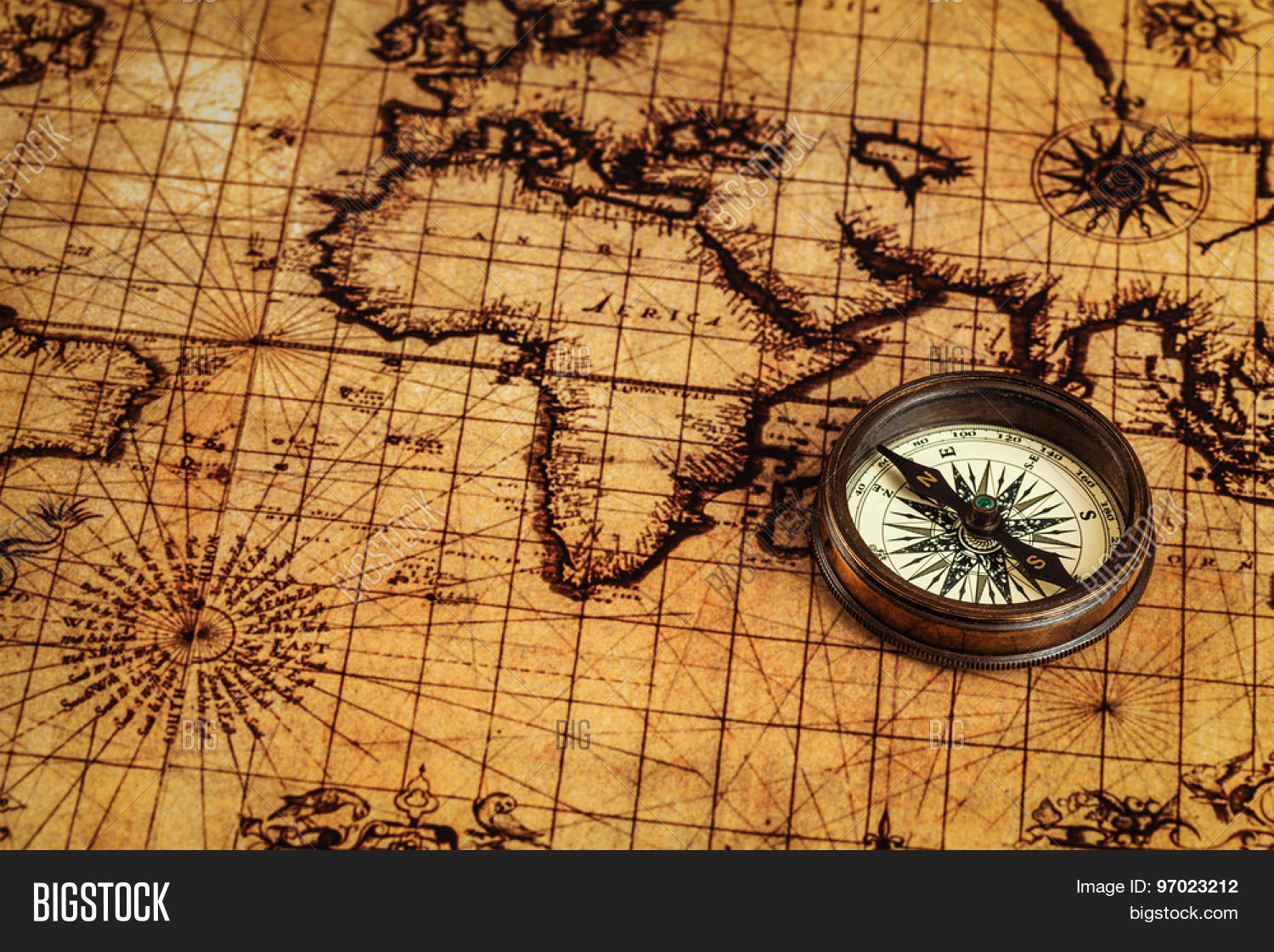 Travel geography image photo free trial bigstock travel geography navigation concept background old vintage retro compass on ancient world map gumiabroncs Gallery