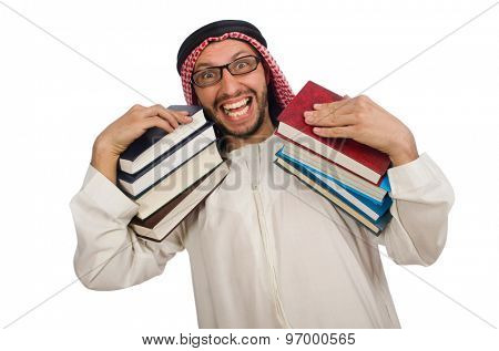 Arab man with books isolated on white