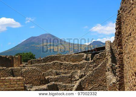 Pompeii Ruins And Vesuvius