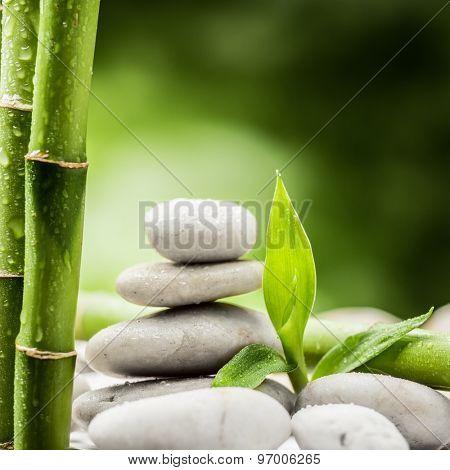 zen basalt stones and bamboo