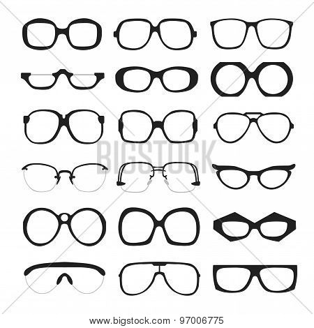 Vector set of glasses. Retro, wayfarer, geek, hipster frames.