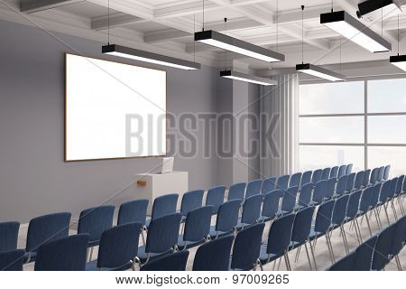 Conference in a meeting room with rows of chairs and a canvas (3D Rendering)