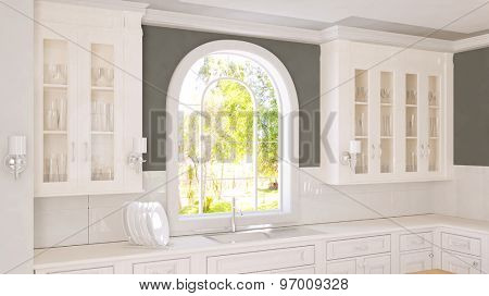 Bright white kitchen with window and cabinets for dishes (3D Rendering)