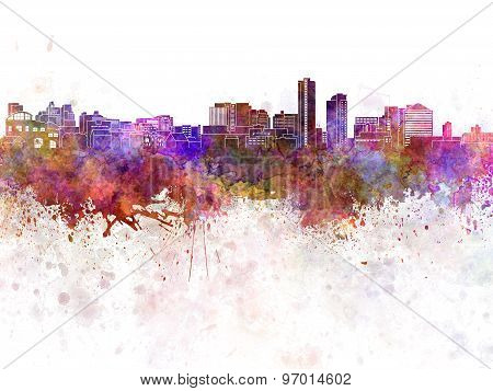 Wilmington De Skyline In Watercolor Background