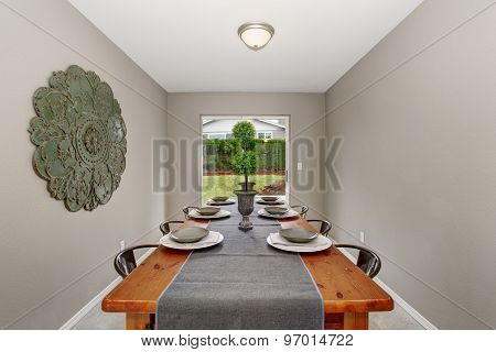 Extraordinary  Dinning Room With Grey Walls And Long Table.