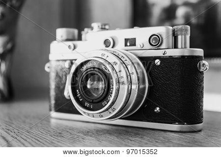 Russian Soviet Vintage Camera Zorkiy 2-S. Zorki 2-S is small-f