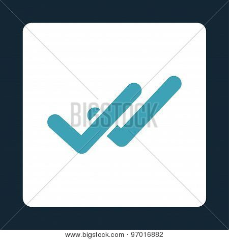 Validation icon. This flat rounded square button uses blue and white colors and isolated on a dark blue background. poster