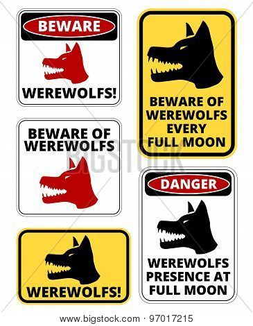 Beware of  Werewolfs warning sign. Vector EPS8 set poster