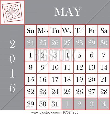 Square Format 2016 Calendar May