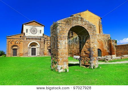 Etruscan city of Tuscania  with San Pietro church. Ladmarks of I