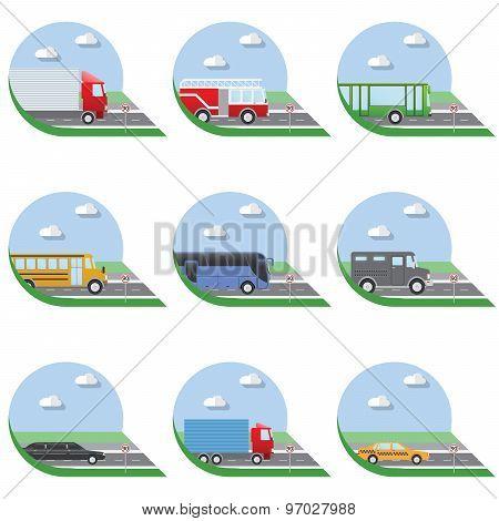 Flat Design Vector Illustration City Transportation Flat Icons. Trucks, Bus, Taxi, Limo, Fire Truck,