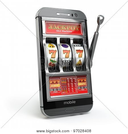 Online casino concept. Mobile phone and slot machine with jackpot. 3d