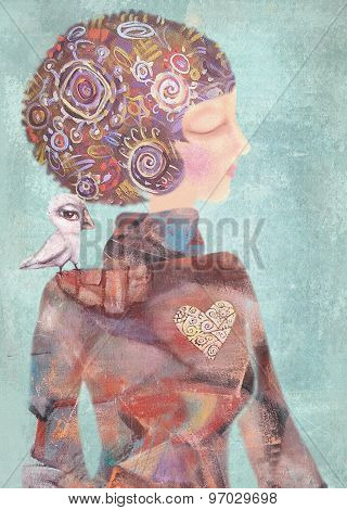 Dreamy Young Girl With A Bird On His Shoulder. Serenity Concept.